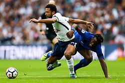 Mousa Dembele of Tottenham Hotspur is challenged by Michy Batshuayi of Chelsea - Rogan/JMP - 20/08/2017 - FOOTBALL - Wembley Stadium - London, England - Tottenham Hotspur v Chelsea - Premier League.