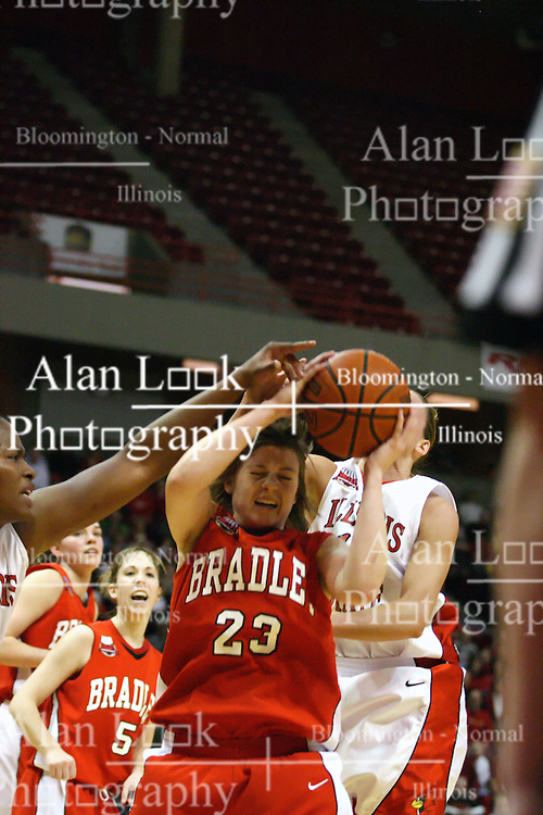 28 January 2007: Devyn Flanagan grabs a rebound in a crowd. Before a record crowd or nearly 4200, the Bradley Braves were defeated by the conference leading (9-0) Redbirds of Illinois State University by a score of 55-47 at Redbird Arena in Normal Illinois.