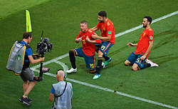 MOSCOW, RUSSIA - Sunday, July 1, 2018: Spain's Sergio Ramos celebrates as if he scored the first goal, which was an own-goal, with team-mates Diego Costa and Sergio Busquets during the FIFA World Cup Russia 2018 Round of 16 match between Spain and Russia at the Luzhniki Stadium. (Pic by David Rawcliffe/Propaganda)
