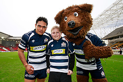 Bristol Rugby Winger David Lemi (capt) poses with the Mascot and Brizzly Bear - Mandatory byline: Rogan Thomson/JMP - 30/01/2016 - RUGBY UNION - Ashton Gate Stadium - Bristol, England - Bristol Rugby v Jersey - Greene King IPA Championship.