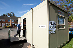 © Licensed to London News Pictures. 2/5/2013. Nuneaton, Warwickshire. Nuneaton and Bedworth Council have used imported a portakabin so residents can cast their vote around the Wentworth Drive area of Nuneaton. Photo credit : Dave Warren/LNP