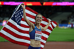 USA's Jennifer Simpson celebrates after coming in second in the women's 1500m final during day four of the 2017 IAAF World Championships at the London Stadium.