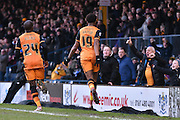 HUll City Forward, Chuba Akpom  celebrates his goal in front of the traveling supporters during the The FA Cup fourth round match between Bury and Hull City at Gigg Lane, Bury, England on 30 January 2016. Photo by Mark Pollitt.