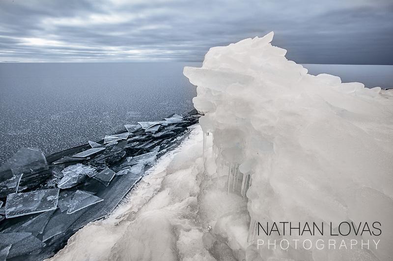 Ice covered Lake Superior shoreline;  Grand Portage MN.