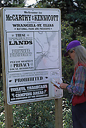 Sign, Woman, Wrangell St. Elias National Park, McCarthy, Kennicott, Alaska