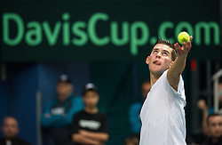 05.04.2014, Aegon Arena, Bratislava, SVK, ITF, Davis Cup, Slowakei vs Oesterreich, 2. Runde, Europa-Afrika-Zone I, im Bild Dominic Thiem (AUT) // Dominic Thiem (AUT) during the 2nd round of Europe Africa zone one of ITF Davis Cup between Slovakia and Austria at the Aegon Arena in Bratislava, Slovakia on 2014/04/05. EXPA Pictures © 2014, PhotoCredit: EXPA/ Michael Gruber