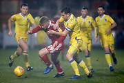 Accrington Stanley  forward Luke Armstrong (39) turns awn from Bristol Rovers defender Tom Lockyer (4)  during the EFL Sky Bet League 1 match between Accrington Stanley and Bristol Rovers at the Fraser Eagle Stadium, Accrington, England on 12 January 2019.