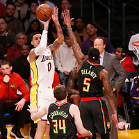 07 January 2018: Los Angeles Lakers forward Kyle Kuzma (0) takes a jump shot over Atlanta Hawks guard Malcolm Delaney (5) during the LA Lakers 132-113 victory over the Atlanta Hawks, at the Staples Center, Los Angeles, California, USA.