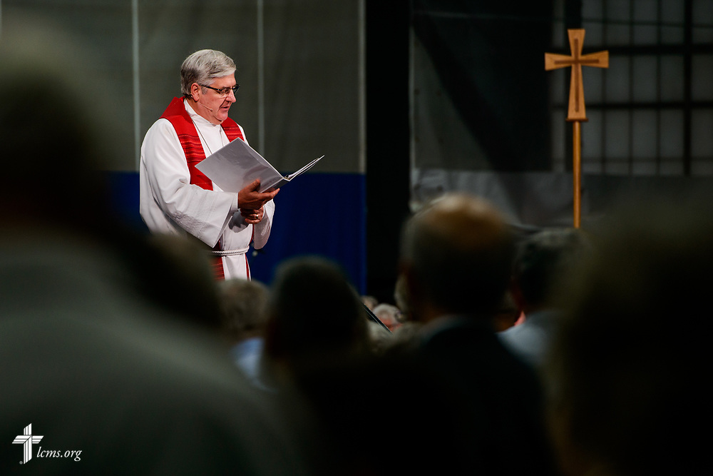 The Rev. Dean Nadasdy, president of the LCMS Minnesota South District, leads the Apostles' Creed at the 500th Anniversary of the Reformation festival worship service on Sunday, Oct. 29, 2017, in the Gangelhoff Center at Concordia University, St. Paul, in St. Paul, Minn. The service was held in conjunction with Concordia University, St. Paul, and the Minnesota North and South Districts of the Lutheran Church-Missouri Synod. LCMS Communications/Erik M. Lunsford