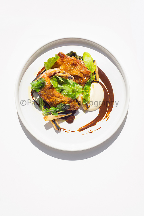 Lionfish restaurant overhead view of plated chicken dinner