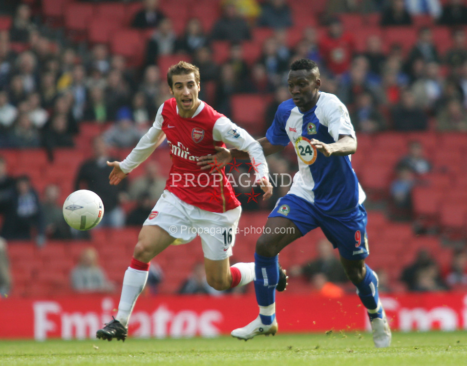 London, England - Saturday, February 17, 2007: Arsenal's Matthieu Flamini and Blackburn Rovers' Shabani Nonda during the FA Cup 5th round match at the Emirates Stadium. (Pic by Chris Ratcliffe/Propaganda)