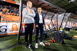 (L-R) assistent trainer Arjan Veurink of The Netherlands, Coach Sarina Wiegman of the Netherlands women during the FIFA Women's World Cup 2019 play off first leg qualifying match between The Netherlands and Denmark at the Rat Verlegh stadium on October 05, 2018 in Breda, The Netherlands