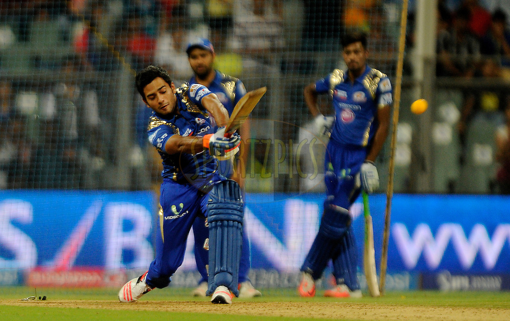 Unmukt Chand of Mumbai Indians bats during the YES BANK Maximum competition after match 46 of the Pepsi IPL 2015 (Indian Premier League) between The Mumbai Indians and The Royal Challengers Bangalore held at the Wankhede Stadium in Mumbai, India on the 10th May 2015.<br /> <br /> Photo by:  Pal Pillai / SPORTZPICS / IPL
