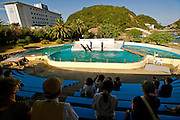 Visitors enjoy a dolphin show at a dolphinarium inside the grounds of the whaling museum in Taiji, Japan on 10 September  2009. Although the dolphinarium is located next to the cove in which the dolphin slaughter is undertaken, few visitors are aware of the annual culls.  Photographer: Robert Gilhooly...