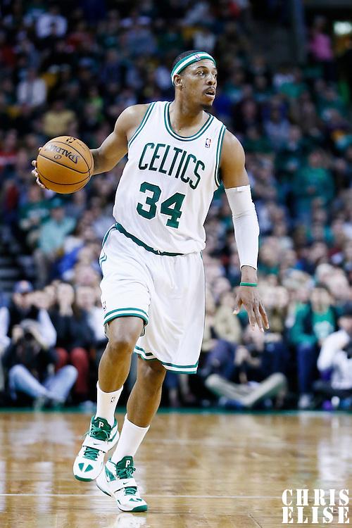 29 March 2013: Boston Celtics small forward Paul Pierce (34) brings the ball upcourt during the Boston Celtics 118-107 victory over the Atlanta Hawks at the TD Garden, Boston, Massachusetts, USA.