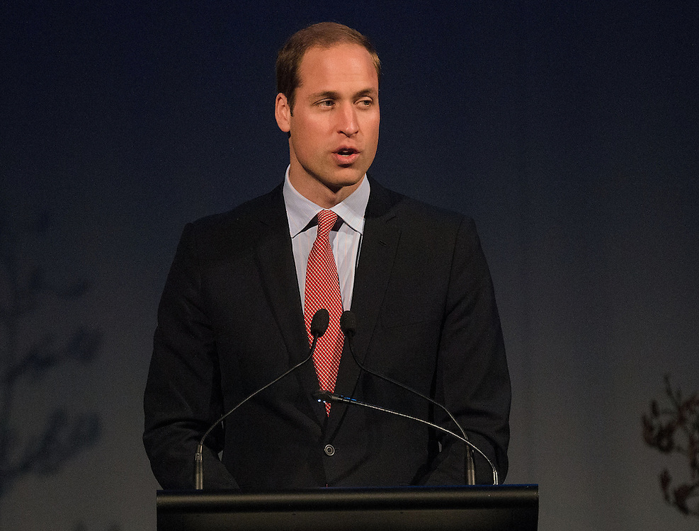 Britain's Prince William speaks to the envied guests during a lunch at the Wigram Air Base Museum in Christchurch on April 14, 2014.  Pool/AFP PHOTO / MARTY MELVILLE