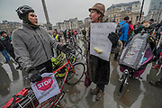 Gathering in Trafalgar Square - Stop Killing Cyclists stage a die-in to remember Anita Szucs, 30 and Karla Roman, 32 (both killed while cycling on Monday), and Ben Wales, 32. They are demanding investment in cycling and walking in the hope that it rises to 10% of the UK transport budget by the end of this parliament. They also point out that air pollution is poisoning millions of people in the UK and road danger means most people do not feel safe cycling on UK roads - meaning they miss out on healthy exercise and compounding a health disaster which the NHS will struggle to afford. They met outside the National Gallery and moved to the Treasury, Horse Guards Parade for protest.