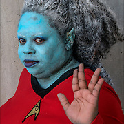 Cosplayer as Andorian Vulcan in her favorite Star Trek costume.<br />