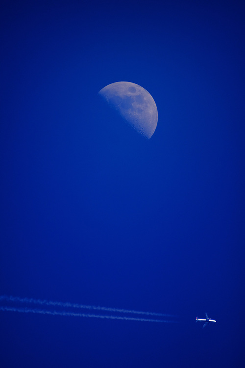 Contrails and Moon
