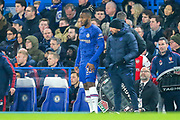 SUBSTITUTION Replacing Chelsea midfielder Willian (10) (not in picture), Chelsea forward Michy Batshuayi (23), during the Premier League match between Chelsea and Arsenal at Stamford Bridge, London, England on 21 January 2020.