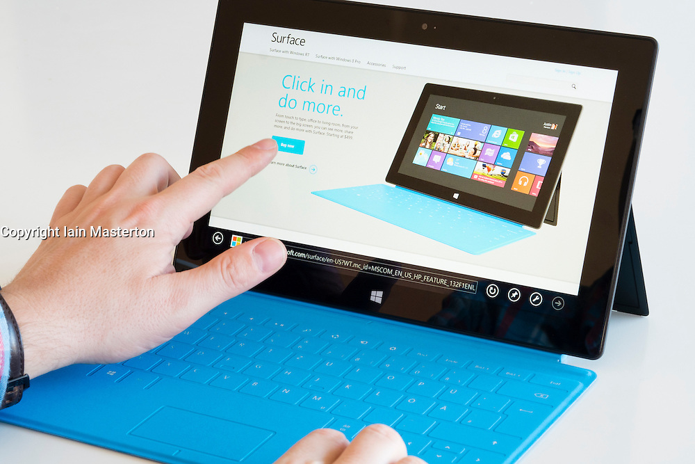Microsoft homescreen shown on  a Microsoft Surface rt tablet computer