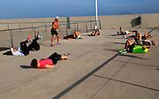 Outdoor keep fit activity group Corrajelo, Fuerteventura, Canary Islands, Spain