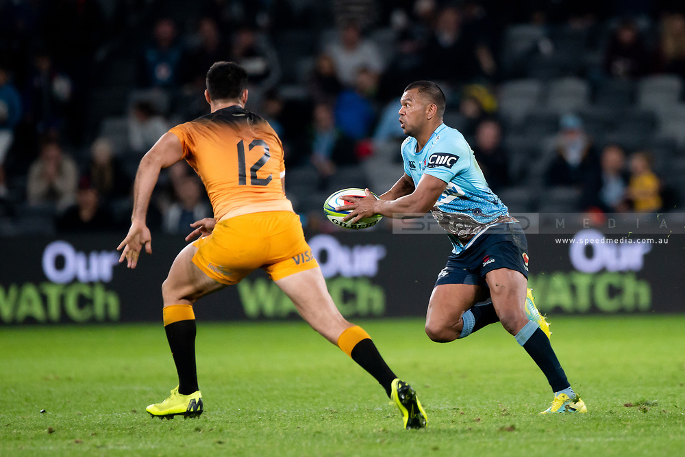 SYDNEY, AUSTRALIA - MAY 25: Waratahs player Kurtley Beale (15) looks to pass the ball at week 15 of Super Rugby between NSW Waratahs and Jaguares on May 25, 2019 at Western Sydney Stadium in NSW, Australia. (Photo by Speed Media/Icon Sportswire)