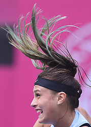 BEIJING, Oct. 15, 2017  Aryna Sabalenka of Belarus serves during the women's singles quarterfinal match against Zhu Lin of China at the 2017 WTA Tianjin Open tennis tournament in Tianjin, north China, Oct. 13, 2017. (Credit Image: © Yue Yuewei/Xinhua via ZUMA Wire)