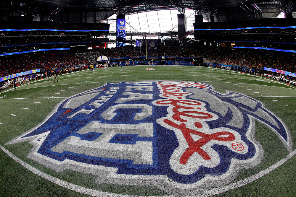 A general view of the field during the Chick-fil-A Peach Bowl, Saturday, December 29, 2018, in Atlanta. ( Paul Abell via Abell Images for Chick-fil-A Peach Bowl)
