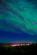 Epic Aurora Borealis (Northern Lights) over Downtown Grand Marais Minnesota