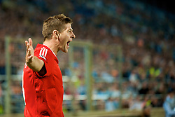 MARSEILLE, FRANCE - Tuesday, September 16, 2008: Liverpool's captain Steven Gerrard MBE celebrates scoring the equaliser against Olympique de Marseille during the opening UEFA Champions League Group D match at the Stade Velodrome. (Photo by David Rawcliffe/Propaganda)