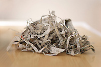 Pile of shredded newspaper close-up