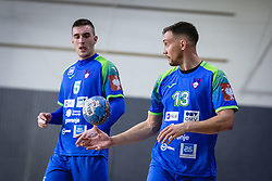 Nik Henigman of Slovenia and Darko Cingesar of Slovenia during friendly handball match between Slovenia and Nederland, on October 25, 2019 in Športna dvorana Hardek, Ormož, Slovenia. Photo by Blaž Weindorfer / Sportida