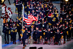 March 9, 2018 - Pyeongchang, South Korea - U.S. - The team of United States enters the arena during the opening ceremony of the 2018 Winter Paralympics in Pyeongchang. (Credit Image: © Bildbyran/Icon SMI via ZUMA Press)