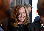 Garden City, New York, USA. November 6, 2018. Nassau County Democrats watch Election Day results at Garden City Hotel, Long Island. Congresswoman KATHLEEN RICE visits event after winning re-election as New York's Representative for Fourth Congressional District