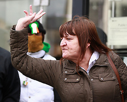 © Licensed to London News Pictures. 04/04/2013.Nottingham, UK.Dawn Bestwick, Mick Philpotts sister announces what the sentences are and comments on the six children. The last day of the Philpott fire hearing. Three individuals, Mairead Philpott, Michael Philpott and Paul Mosley are sentenced for manslaughter of 6 children in Derby 2012 at Nottingham Crown Court. sentencing was postponed until 10:30am today (Thursday 4th April 2013)   .   Photo credit : Tom Maddick/LNP