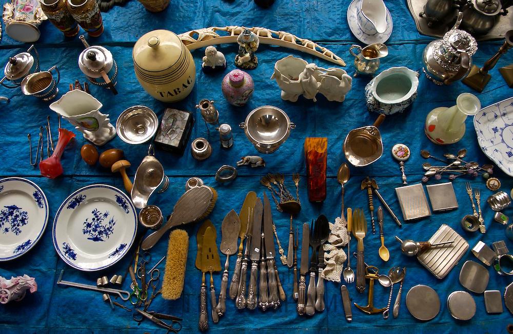 A Brocante sale (bric a brac) held in a street market in Brussels, Belgium