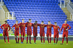 READING, ENGLAND - Wednesday, March 12, 2014: Liverpool's players look on as they lose 5-4 on penalties after a 4-4 draw against Reading during the FA Youth Cup Quarter-Final match at the Madejski Stadium. Harry Wilson, Jordan Rossiter, Daniel Cleary, Jordan Williams, Sheyi Ojo, Sergi Canos, Joe Maguire, Cameron Brannagan, Lloyd Jones. (Pic by David Rawcliffe/Propaganda)
