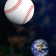 Studio shot of a baseball ball as a planet or moon in line with the planet earth and against a space background.