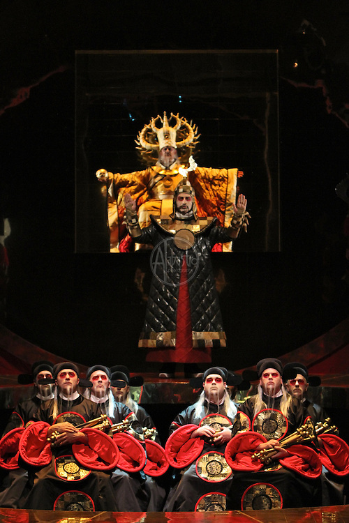 Seattle Opera Turandot Gold Cast Dress  Peter Kazaras (Emperor Altoum).  Ashraf Sewailam (Mandarin).