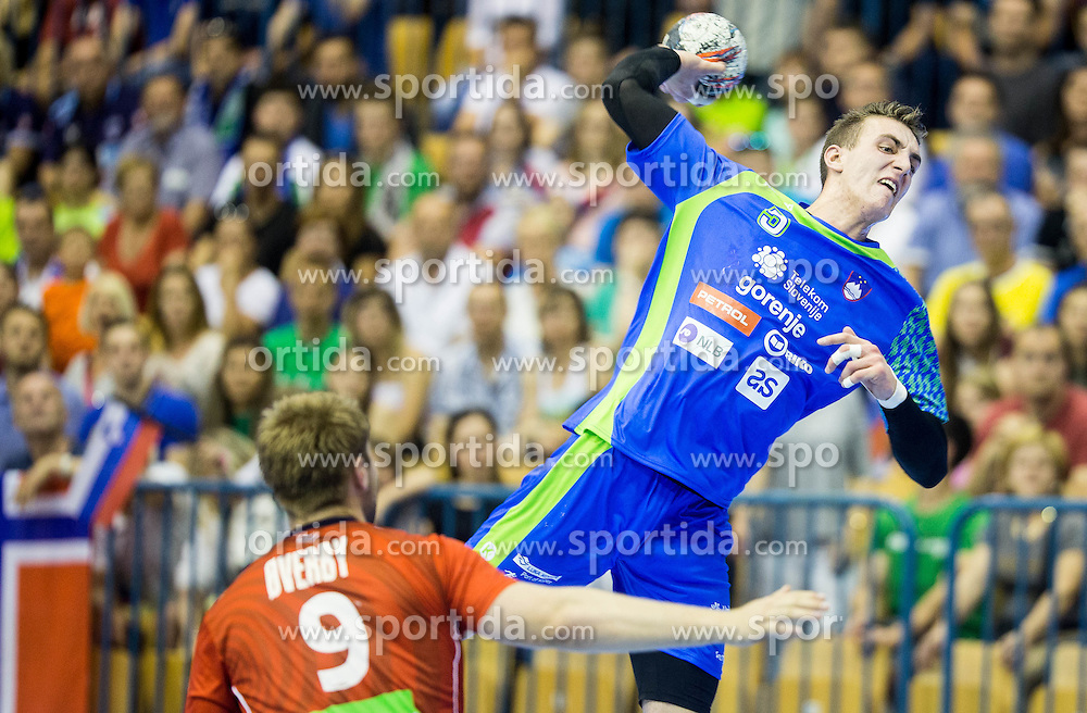Nik Henigman of Slovenia during handball match between National Teams of Slovenia and Norway in Play Off Phase 2 of 2017 Men's World Championship Qualifications, on June 11, 2016 in Arena Zlatorog, Celje, Slovenia. Photo by Vid Ponikvar / Sportida