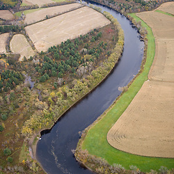 Aerial view of the Connecticut River in Guildhall, Vermont.