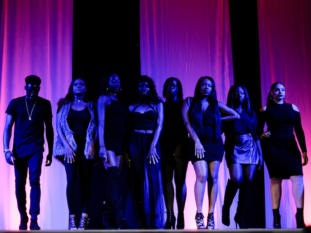 Members of F.A.C.E.S. Modeling put on a fashion show in Baker Ballroom for the Black Alumni Reunion Variety Show on Saturday, September 17, 2016. ©Ohio University / Photo by Kaitlin Owens