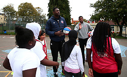 Bristol Sport and Bristol Energy launch their partnership at Millpond School with help from Daniel Edozie and Rhondell Goodwin of Bristol Flyers - Mandatory by-line: Robbie Stephenson/JMP - 09/10/2017 - SPORT - Millpond School - Bristol, England - Bristol Sport and Bristol Energy Partnership Launch