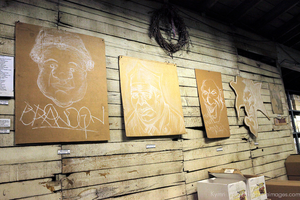 USA, California, Ontario. Artist renditions of the spirits at Graber Olive House.