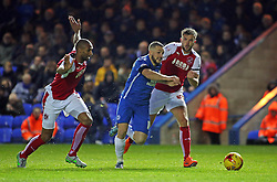 Conor Washington of Peterborough United races past Joe Davis and Nathan Pond of Fleetwood Town - Mandatory byline: Joe Dent/JMP - 07966 386802 - 14/11/2015 - FOOTBALL - ABAX Stadium - Peterborough, England - Peterborough United v Fleetwood Town - Sky Bet League One