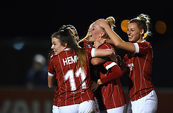 Danique Kerkdijk of Bristol City Women celebrates with her team mates - Mandatory by-line: Paul Knight/JMP - 02/12/2017 - FOOTBALL - Stoke Gifford Stadium - Bristol, England - Bristol City Women v Brighton and Hove Albion Ladies - Continental Cup Group 2 South