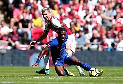 Michy Batshuayi of Chelsea is tackled by Per Mertesacker of Arsenal - Mandatory by-line: Robbie Stephenson/JMP - 06/08/2017 - FOOTBALL - Wembley Stadium - London, England - Arsenal v Chelsea - FA Community Shield