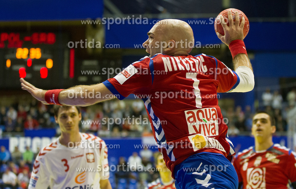 Ivan Nikcevic of Serbia during handball match between Poland and Serbia in Preliminary Round of 10th EHF European Handball Championship Serbia 2012, on January 15, 2012 in Arena Pionir, Belgrade, Serbia.  (Photo By Vid Ponikvar / Sportida.com)