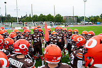 KELOWNA, BC - SEPTEMBER 8:  Defensive back Jonah Williams #34 of Okanagan Sun stands in the huddle at the start of the game against the Langley Rams  at the Apple Bowl on September 8, 2019 in Kelowna, Canada. (Photo by Marissa Baecker/Shoot the Breeze)